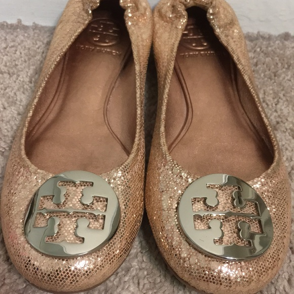 b2f71ce97017ff Authentic Tory Burch Reva Ballet Flats- Rose Gold.  M 5b7cc9148869f76d817ab56e